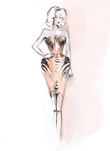Croquis du corset qui a inspiré le flacon 2013 (haute couture S/S 2012)