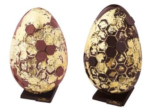 Oeufs de Pâques à la feuille d'or, Dalloyau (chocolat noir ou lait)