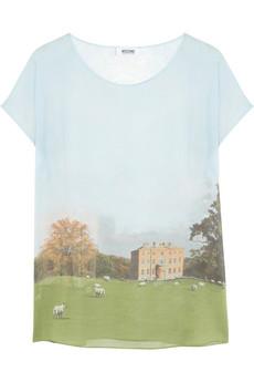 Top en soie imprimé paysage Moschino Cheap & Chic (320 €)