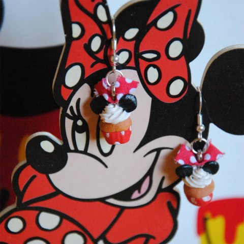 Pendants d'oreilles Cupcakes Minnie Mouse