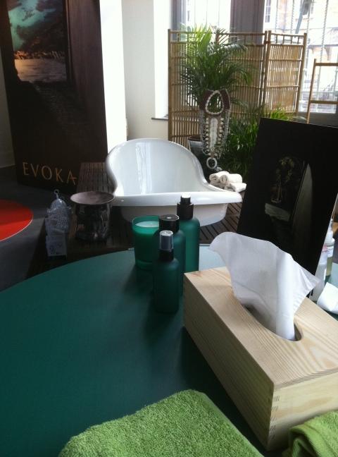 Mise en scène pour le lancement d'Evoka, la ligne bien-être plurisensorielle d'Ici Paris XL (ph. VD)