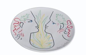 Plat en céramique Orphée et Eurydice Jean Cocteau, Roche-Bobois