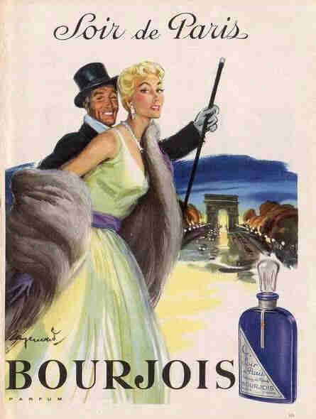 Soir de Paris Bourjois, sorti en 1928 - ici la publicité de 1955