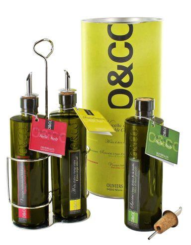 Une belle idée cadeau: la nacelle de 3 flacons d'huile d'olive (250 ml/pièce), 51,50 €