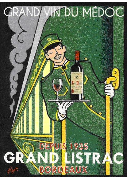 Livrée verte sur la nouvelle affiche du Grand Listrac, le vin de Bordeaux servi à bord des trains français depuis 1935