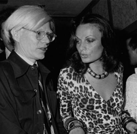 Andy Warhol et Diane von Furstenberg à New York dans les années 70