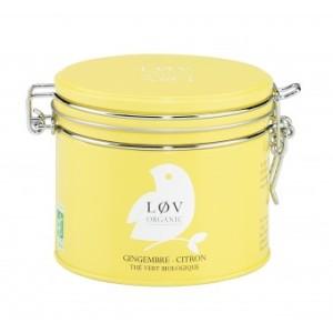 Thé vert bio gingembre-citron Lov Organic, dans son ravissant packaging à l'ancienne