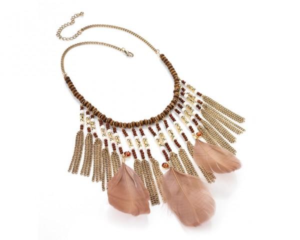 Collier ethnique perles & plumes, à glaner sur www.enviesbijoux.fr (14,90 €)