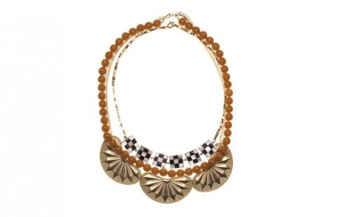 Collier en perles de résine couleur ambre et nacre, Wouters&Hendrix