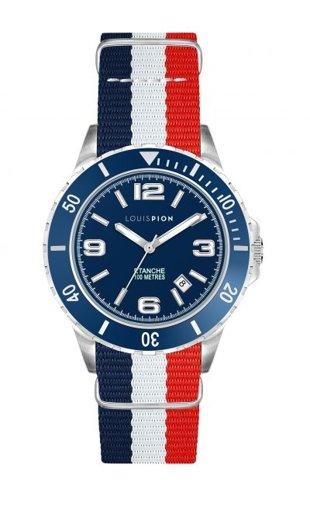 Montre bracelet Nato bleu-blanc-rouge, Louis Pion