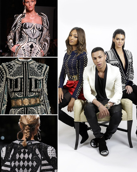 Jourdan Dunn et Kendall Jenner entourent Olivier Rousteing, le directeur artistique de Balmain qui signe en 2015 la traditionnelle capsule fashionpour H&M (doc. Vogue)
