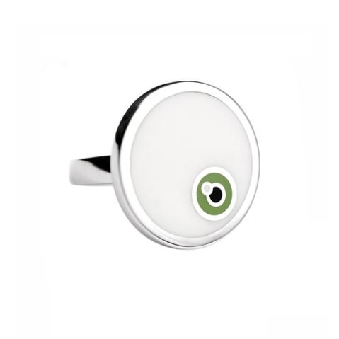 Bague en argent rhodié et céramique, modèle MimiVert Circle Ring (Eye Collection (120€)